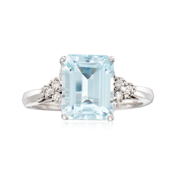 3.00 Carat Aquamarine and .10 ct. t.w. Diamond Ring in 14kt White Gold, , default