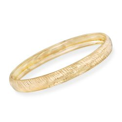 14kt Gold Over Sterling Silver Diamond-Cut Diagonal Stripe Bangle Bracelet, , default