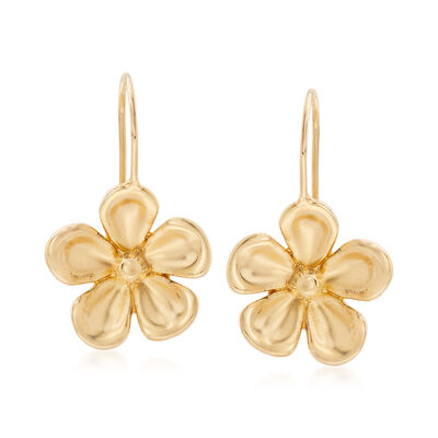 14kt Yellow Gold Pansy Drop Earrings , , default