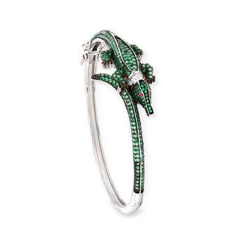 """Green CZ Alligator Bangle Bracelet in Sterling Silver. 7"""", , default"""