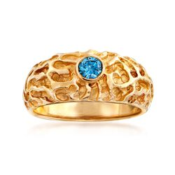 C. 1980 Vintage .20 Carat Blue Diamond Nugget Ring in 14kt Yellow Gold. Size 6, , default