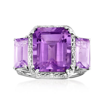 6.50 ct. t.w. Amethyst Three-Stone Ring with White Topaz Accents in Sterling Silver
