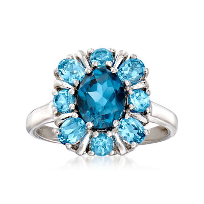 1.30 Carat London Blue Topaz and 1.10 ct. t.w. Swiss Blue Topaz Ring in Sterling Silver