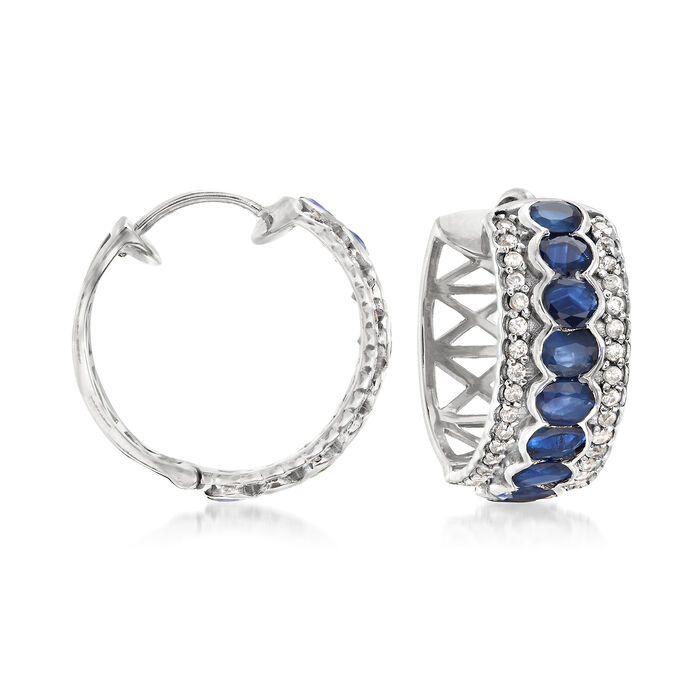 "3.60 ct. t.w. Sapphire and .60 ct. t.w. White Zircon Hoop Earrings in Sterling Silver. 3/4"""