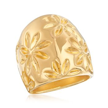 Italian Andiamo 14kt Yellow Gold Floral Ring. Size 5, , default