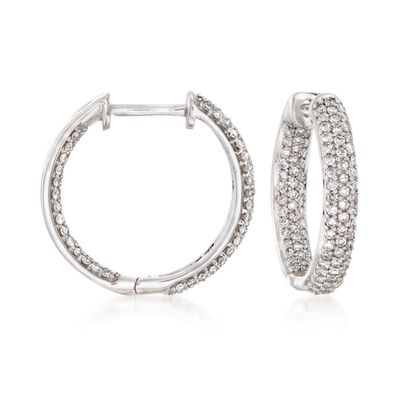 .50 ct. t.w. Pave Diamond Inside-Outside Hoop Earrings in 14kt White Gold, , default