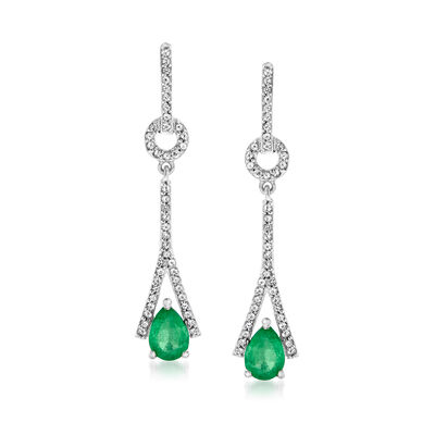 1.00 ct. t.w. Emerald and .40 ct. t.w. White Topaz Drop Earrings in Sterling Silver