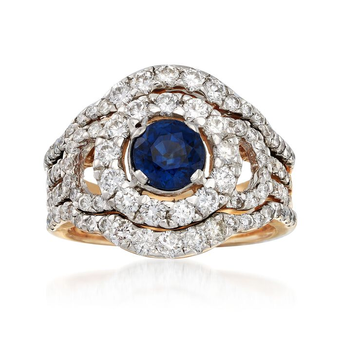 C. 1980 Vintage 1.00 Carat Sapphire and 2.00 ct. t.w. Diamond Round Frame Ring in 14kt Yellow Gold. Size 6.5, , default