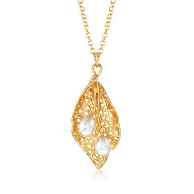 4.5-5mm Cultured Pearl Leaf Necklace in 18kt Yellow Gold Over Sterling Silver, , default