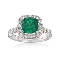 2.10 Carat Emerald and 1.30 ct. t.w. Diamond Ring in 14kt White Gold, , default