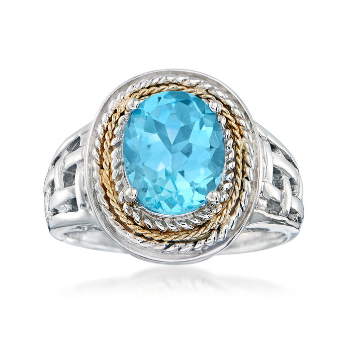 3.50 Carat Blue Topaz Woven Ring in Sterling Silver and 14kt Yellow Gold