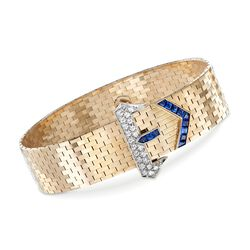 C. 1950 Vintage Tiffany Jewelry .85 ct. t.w. Sapphire and .65 ct. t.w. Diamond Buckle Bracelet in 14kt Yellow Gold, , default
