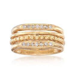 .19 ct. t.w. Diamond Multi-Row Ring in 14kt Yellow Gold. Size 6, , default