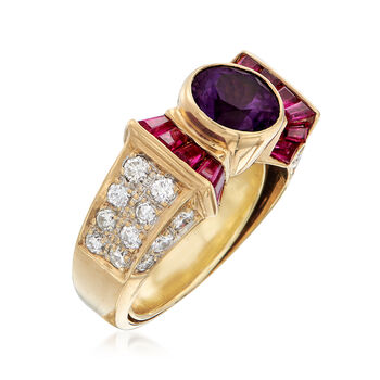 C. 1990 Vintage 1.10 Carat Synthetic Purple Sapphire and .70 ct. t.w. Diamond Ring with .65 ct. t.w. Rubies in 18kt Gold. Size 3.5