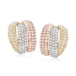 3.30 ct. t.w. Diamond Drop Earrings in 14kt Tri-Colored Gold, , default