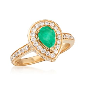 .60 Carat Emerald and .80 ct. t.w. Diamond Ring in 18kt Yellow Gold, , default