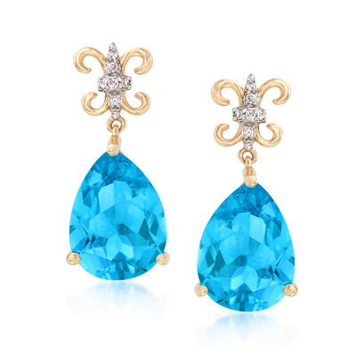7.00 ct. t.w. Blue Topaz Drop Earrings with Diamond and Rhodium Accents in 14kt Yellow Gold, , default