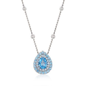 """Gregg Ruth 2.40 ct. t.w. Blue Topaz Necklace With Diamonds in 18kt White Gold. 18"""", , default"""