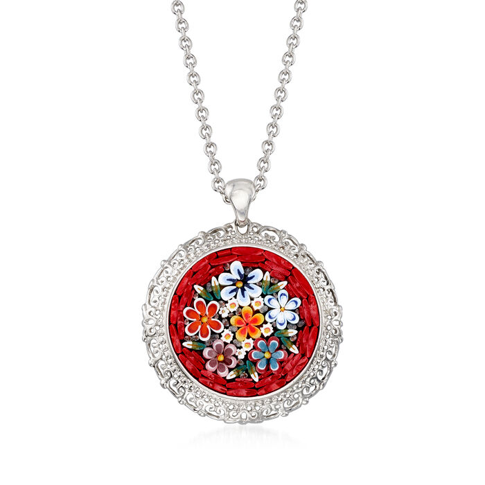 Italian Floral Mosaic Murano Glass Pendant Necklace in Sterling Silver, , default