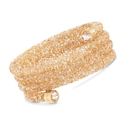 "Swarovski Crystal ""Dust"" Golden Crystal Wide Coil Bracelet in Goldtone Stainless Steel, , default"