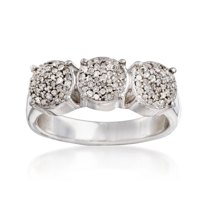 .44 ct. t.w. Pave Diamond Triple Cluster Ring in Sterling Silver, , default