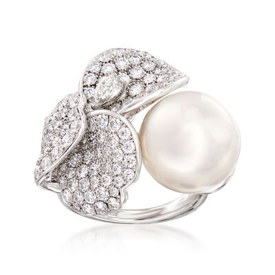 Mikimoto 13mm A+ South Sea Pearl and 3.42 ct. t.w. Diamond Flower Ring in 18kt White Gold, , default