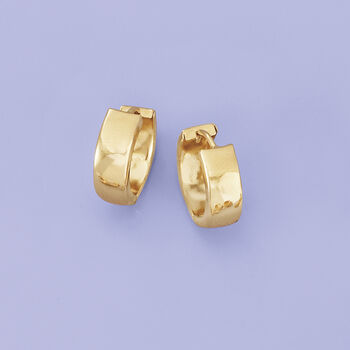 "Italian 18kt Yellow Gold Huggie Hoop Earrings. 1/2"", , default"