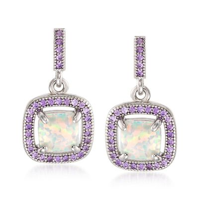 Simulated Opal and Simulated Amethyst Square Drop Earrings in Sterling Silver, , default