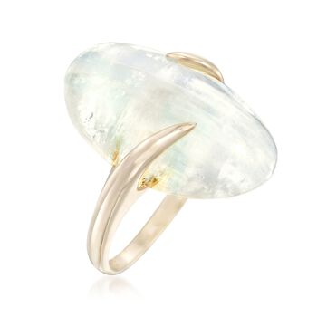 Moonstone Bypass Ring in 14kt Yellow Gold. Size 6, , default