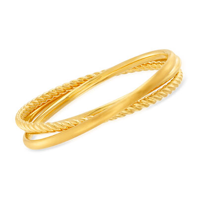 Italian Andiamo 14kt Yellow Gold Interlocking Bangle Bracelets