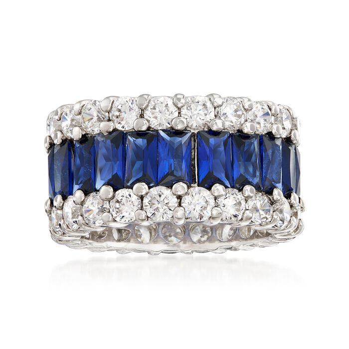6.00 ct. t.w. Simulated Sapphire and 4.00 ct. t.w. CZ Eternity Band in Sterling Silver, , default