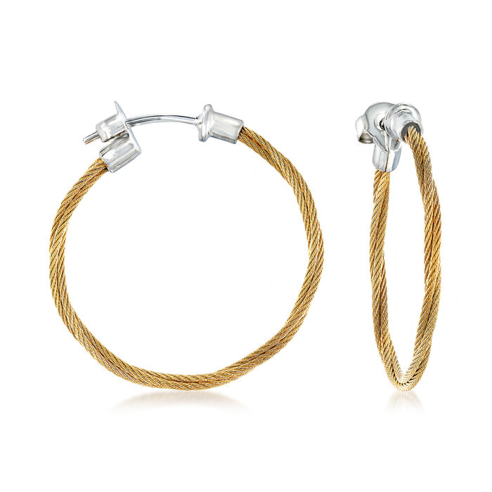 "ALOR ""Classique"" Yellow Stainless Steel Cable Hoop Earrings with 18kt White Gold. 1"", , default"