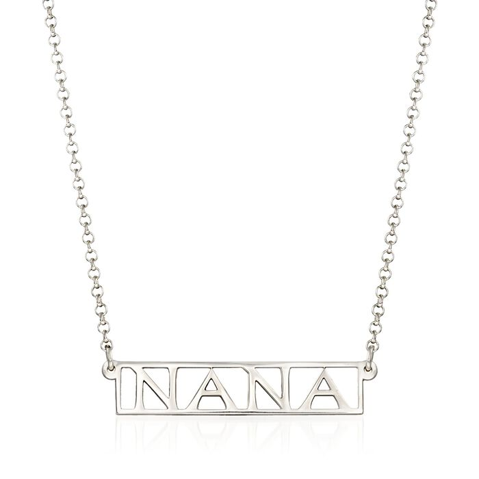 "Sterling Silver ""Nana"" Bar Necklace, , default"