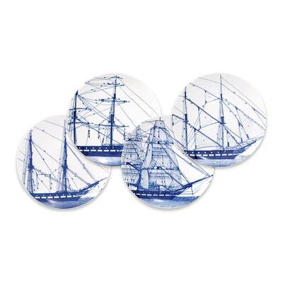 "Caskata ""Blue Rigging"" Set of 4 Blue and White Porcelain Mixed Canape Plates, , default"