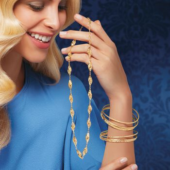 Italian 14kt Yellow Gold Jewelry Set: Three Textured Bangle Bracelets, , default