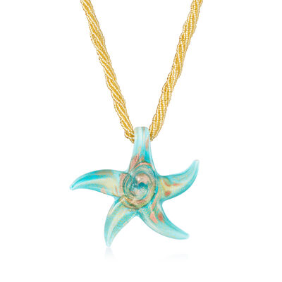 Italian Turquoise and Rose Murano Glass Starfish Necklace with 18kt Gold Over Sterling