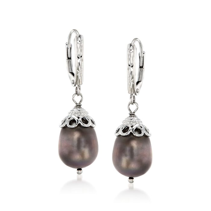 10-11mm Black Cultured Pearl Drop Earrings in Sterling Silver, , default
