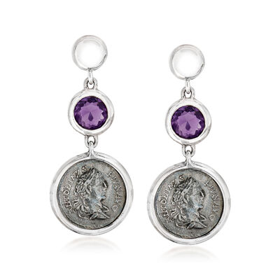 C. 1990 Vintage 3.10 ct. t.w. Amethyst Drop Earrings with Antique Coins in Sterling Silver, , default
