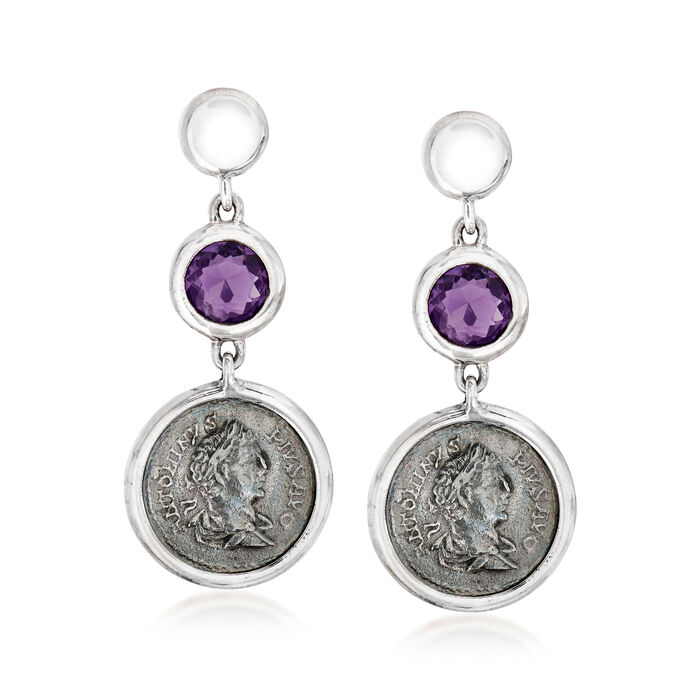 C. 1990 Vintage 3.10 ct. t.w. Amethyst Drop Earrings with Antique Coins in Sterling Silver