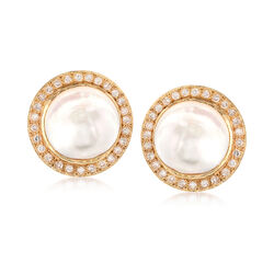 C. 1980 Vintage 20mm Cultured Blister Pearl and 2.50 ct. t.w. Diamond Earrings in 14kt Yellow Gold, , default