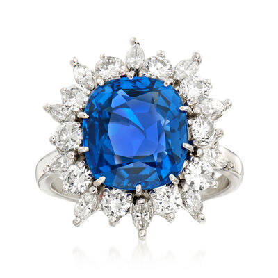 C. 1990 Vintage 5.41 Carat Sapphire and 1.20 ct. t.w. Diamond Frame Ring in Platinum, , default