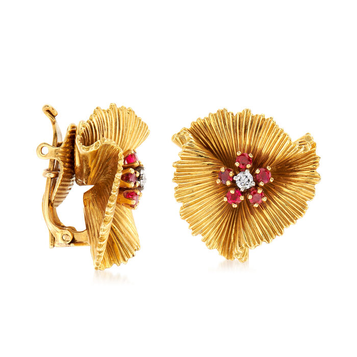 C. 1960 Vintage Tiffany Jewelry .60 ct. t.w. Ruby and .15 ct. t.w. Diamond Flower Earrings in 18kt Yellow Gold