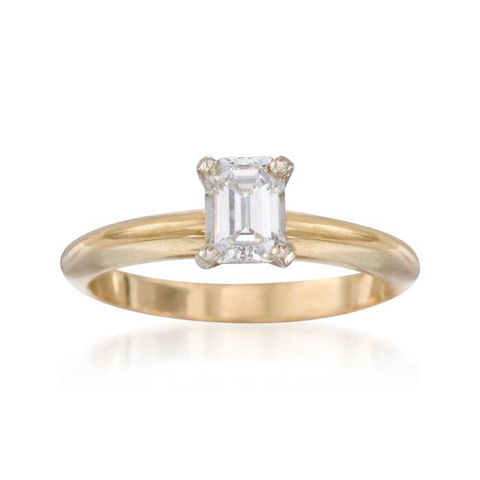 C. 1990 Vintage .59 Carat Diamond Solitaire Engagement Ring in 14kt Yellow Gold. Size 5.5