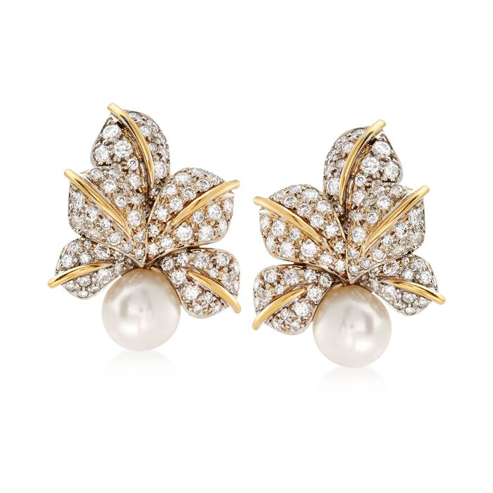 C. 1980 Vintage 10mm Cultured Pearl and 3.00 ct. t.w. Diamond Floral Clip-On Earrings in 18kt Two-Tone Gold