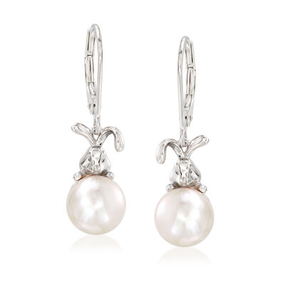 8.5-9mm Cultured Pearl Bunny Drop Earrings in Sterling Silver, , default