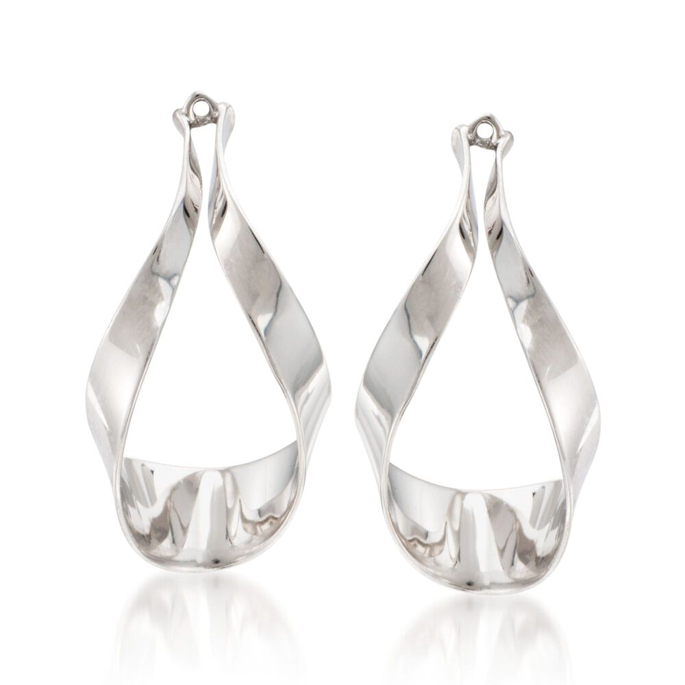 Sterling Silver Ribbon Drop Earring Jackets Default