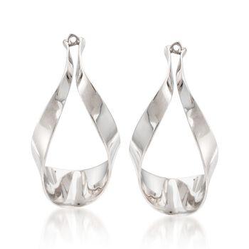 Sterling Silver Ribbon Drop Earring Jackets, , default