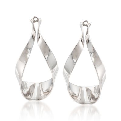 Sterling Silver Ribbon Drop Earring Jackets, , default
