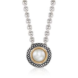 "Andrea Candela 8mm Cultured Pearl Necklace in Sterling Silver and 18kt Gold. 17"", , default"