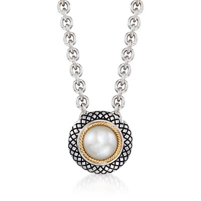 Andrea Candela 8mm Cultured Pearl Necklace in Sterling Silver and 18kt Gold, , default